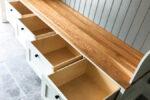 Hallway storage with oak bench and shelf