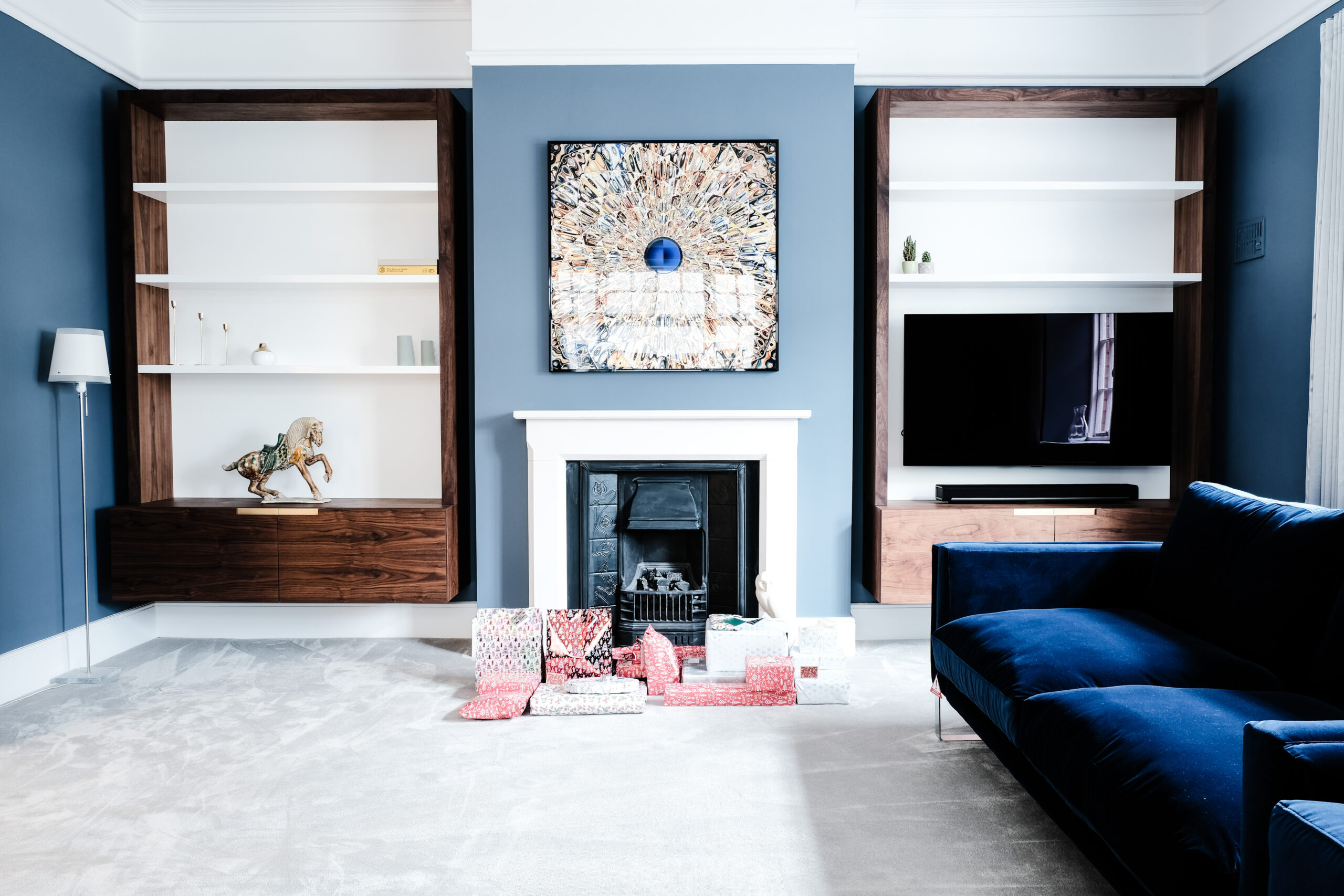 Walnut and White Floating Alcove